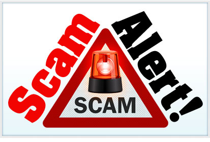 Red warning triangle with the word scam in red on the left sloped side, and the word Alert! in black on the right sloped side. In the center of the triangle is a red police-like bubble light with the word scam in black beneath it.